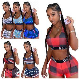 Women Clothes Swimsuit Cartoon Leaf Stripes Print Swimwear Bra Tank Top + Swimming Shorts 2pcs women bikinis Set Beachwear D5610