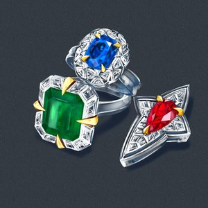 Colorful Banquet Red Sapphire Grandma Green 18K Gold Jewelry Inlaid Custom Ring Pendant Necklace Jade Hand-Painted