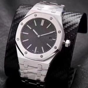 Orologi di lusso, royal oak automaticmechanical watches.Model15202ba.OO.1240 BA. 01.Imported vetro zaffiro, acciaio fine 316, dimensioni 42 mm.