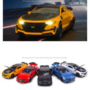 JYU Diecast Alloy Car Model Toy, Chevrolet Camaro with Sound& Lights, Pull Back, 1:32 Scale, Ornament Xmas Kid Birthday Gift, Collecting,4-3