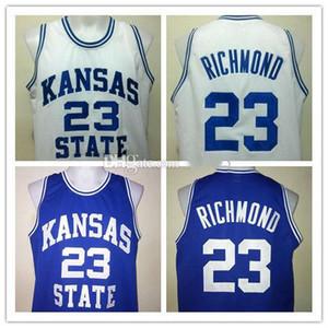 # 23 미치 리치몬드 캔자스 주 와일드 캣 대학 레트로 농구 저지 남성의 스티치 사용자 정의 모든 번호 이름 유니폼