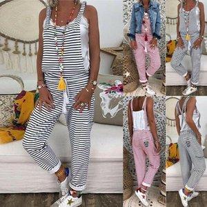 2020 donne Salopette nuovo modo sexy di estate Harem cinghia Pant allentato tuta rigonfio pantaloni a righe Tuta vendita calda