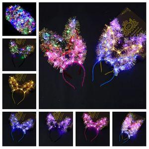 LED Saç Hoop LED Işık Up Saç Çelenk Hairband askıbezekler Noel Parlayan Partisi Çiçek Kafa Kedi Kulakları hairbands T2G5061