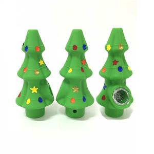 Árvore de Natal Silicone Tubo cachimbos 125 * 56 milímetros portátil Tobacco Colher Mão Fumaça Acessórios queimador de óleo da tubulação de água de vidro grosso bacia