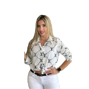 Fashion Letter Print Women Ladies Casual Office Button Front Bow Tie Neck Long Sleeve Slim Shirts Tops S-XXL 652