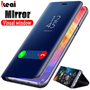 Smart Clear View Leather Case For Samsung Galaxy Note 10Plus 10 10Lite Original Mirror Phone Case For Samsung Galaxy Note 9 8