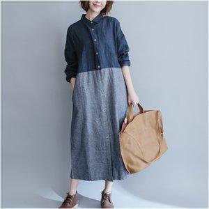 Johnature Femmes Coton Lin Dress Patchwork À Manches Longues 2017 Printemps Nouveau Plus La Taille Femmes À Rayures Chemise Dress Casual Vintage Bleu