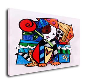 Romero Britto Cartoon Art abstrait chien mignon, Peinture à l'huile Reproduction de haute qualité Toile d'artiste moderne Accueil Art Décor