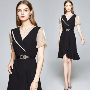 Womens Temperament Dress Short Sleeve V-neck Ruffles OL Dress Summer Fashion Lady Dress Party Evening Dresses