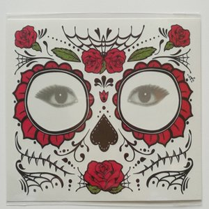 Waterproof Facial Makeup Sticker Special Face Tattoo Day of The Dead Skull Face Dress Up Halloween Temporary Stickers Tattoo