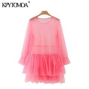 KPYTOMOA Frauen 2020 Sexy Mode Transparent Rüschen Mesh Minikleid Vintage Oansatz Langarm Weibliche Kleider Vestidos