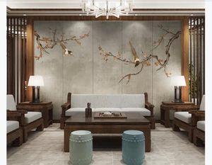 3d personalizados de seda Photo murales de papel tapiz de flor de ciruelo chino urraca arte salón pintura mural fondo de la TV