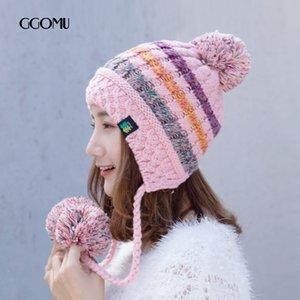 GGOMU зима Симпатичная Вязаная шапка для женщин Открытого Утолщения теплой шапки моды нашивки Bomber Шляпа девушка ZLH-219