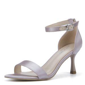 female dress satin sandals open toe 6.5cm stiletto high heel summer shoes office career work back buckle strap sexy women ladies footwear