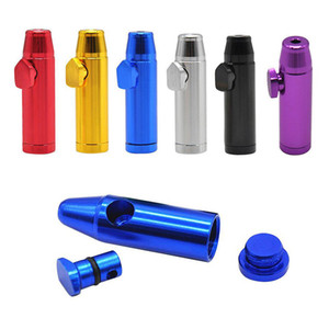 Bullet Rocket Shape Snuff Snorter Aluminum Alloy metal Sniff Dispenser Nasal Tube Sniffer Tobacco Herb Straw Smoking Pipe Accessories
