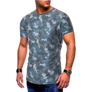 Summer Camouflage O-Neck Mens Tshirts Short Sleeve Frayed Mens Tops Fashion Skinny Teenager Tees