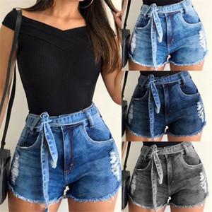Buracos Casual Calças curtas das mulheres Verão shorts jeans com Designer Belt Womens Jeans Shorts Moda Burr