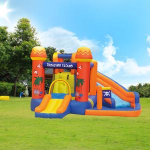Şişme Bouncy Castles Slide Yüzme Havuzu İçin Kids ile Alan Açık Korsan Tekne Su Slide Çalma Su Parkı Korsanları Adaları Çocuk
