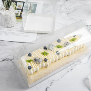 Trasparente torta del rullo Packaging scatola con la maniglia Eco-friendly di plastica trasparente Cheese Cake Box cottura swiss roll Box LX2094