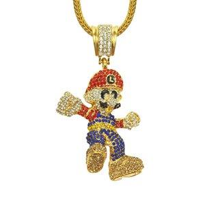 Solitaires Stereo Cartoon Character Thème Cartoon jeu collier pendentif Hip Hop Collier