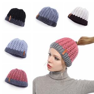 Kadın Örgü at kuyruğu Şapka Moda Sıcak Kış Katı Renk Tığ Kafatası Cap Çocuklar Açık Partisi Beanie Şapka TTA1824