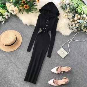 Vintage Slim 2020 Button Hooded Autumn Winter Bodycon Knitted Sweater Midi Long Dress Party Women Elegant Dresses Tunic Vestidos