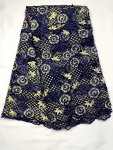 5Yards pc Fashionable deep blue french net lace fabric with rhinestone flower embroidery african mesh lace for dress QN90-1
