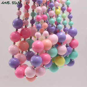 New Arrivel Rainbow Color Acrílico doce Kid Chunky Colar contas forma Bubblegume Colar Chunky Bead Jewelry menina Criança