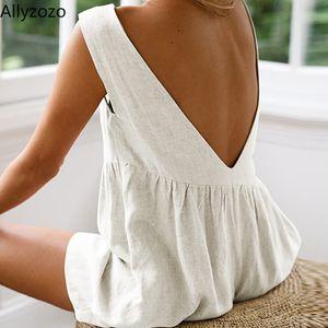 Allyzozo Streetwear Women Summer Casual Backless Playsuits Hot Beach Cool Rompers High Waist Sleeveless Jumpsuits