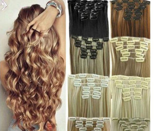 """16 """"-32"""" Clips de productos de pelo brasileños sintéticos en / sobre el conjunto de la extensión del pelo humano 7pcs cabeza completa FZP35"""