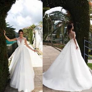 Cheap Lace Wedding Dresses Jewel Sleeveless 3D Floral Appliques Bridal Gowns A Line Tulle Wedding Gowns Robe De Mariée vestidos de novia