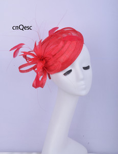 2019 Red sinamay mini hat fascinator Hair accessory Headpiece Kentucky Derby wedding races bridal shower mother of the bride w feathers