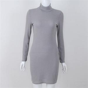 Kadın Örgü Elbise Moda Yüksek Yaka İnce Temel Elbise Kış Ve Sonbahar Kim Rahat Elbise Isınma uzun kollu