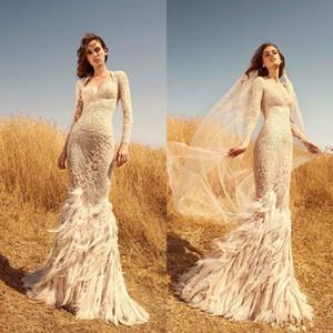 2020 Zuhair Murad Mermaid Brautkleider Schatz-Spitze Appliqued Perlen Luxuxfeder Langarm-Brautkleider nach Maß Brautkleid