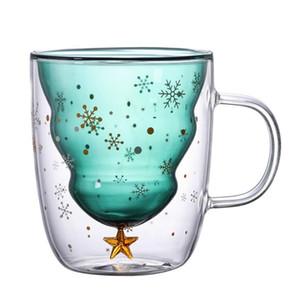 Arbre de Noël Isolants Coupe à double paroi en verre tasses à café avec couvercle Silocone flocon de neige Étoile de Noël tasse Tumbler de Noël décorer LXL615-1