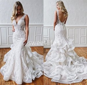 2020 Elegant V Neck Lace Appliques Wedding Dresses Backless Mermaid Ruffles Tiered Oraganza Beach Garden Bridal Gown Custom Made