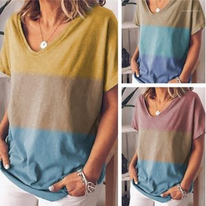 Summer Tees Fashion V Neck Casual Tops Womens Designer Contrast Color Short Sleeve Tshirt Women Loose