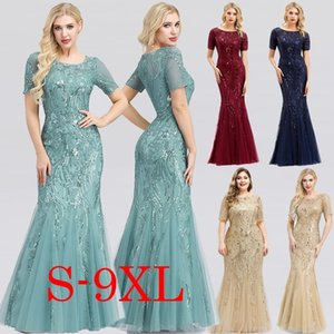 Sexy Maxi Dress Mermaid Sequined O-Neck Short Sleeve Ladies Elegant Bodycon Dress Woman Party Night Gowns Zomerjurk Dames 2020 MX200518