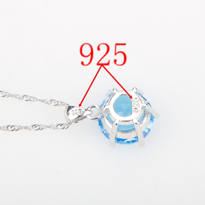 Sky Blue CZ Stones Wedding Silver 925 Jewelry Sets Pendant Necklace Earrings Rings For Women Dubai Jewelery Set Free Gift Box