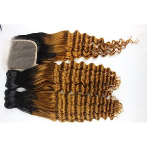 A Funmi Ombre Human Hair Bundles With Closure Top Quality Two Tone Remy Human Hair Wefts With 4x4 Hair Closure 10 -22 Inch