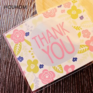 50pcs  100pcs Thank You Flower Plastic Bag Wedding Cookie Dragee Candy Gift Packaging Self Adhesive Gift Bags Wrapping Supplies