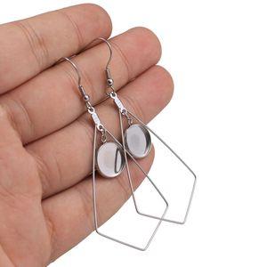 10PCS / 많은 스테인레스 스틸 귀걸이 카보 숑은 설정 귀걸이 빈 DIY 기하학적 12mm 베젤 귀걸이 트레이 보석 만들기를 기지