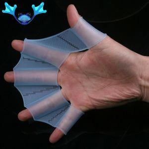 Silicone mano Nuoto Pinne Flippers Swim Palm Finger palmato guanto Paddle Guanti
