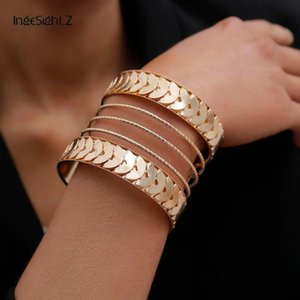 IngeSight.Z Punk Exaggerated Geometric Big Cuff Bangles Charm Hip Hop Roker Gold Color Metal Bracelets Bangles for Women Jewelry