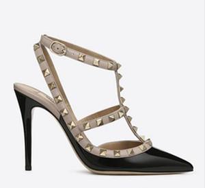 Ücretsiz kargo Moda desig patent deri Kadın Pompaları Sivri Burun Sandalet Slingback Çivili T-Askı Perçin Valen Yüksek Topuklu ayakkabı color5