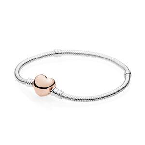 NUOVO 100% del regalo dei monili 580.719 Bracciale Cuore della Rosa del catenaccio DIY donne di fascino di moda originale argento 925 di alta qualità