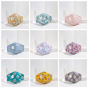 11styles Adult floral printed valve mask can put filter cotton washable ear-hung facial mouth face cover dustproof masks FFA4116-2