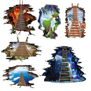 6 디자인 새로운 큰 3d 우주 우주 벽 스티커 은하 별 다리 가정 훈장 아이 방을 위해 층 거실 벽 훈장 집 장식