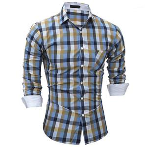Nouveau style Hommes Chemises Designer Casual style Hommes Chemises mode coloré imprimé à carreaux Slim Chemises printemps