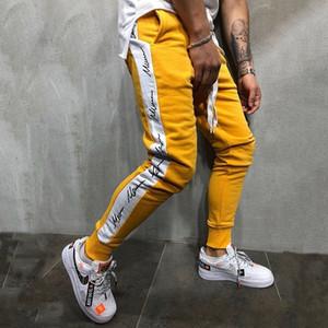Mens Designer Schnür-Bleistift-Hosen Striped Panelled Dekoration Mens-beiläufige Hosen Kontrast Farbe Homme Haremshose